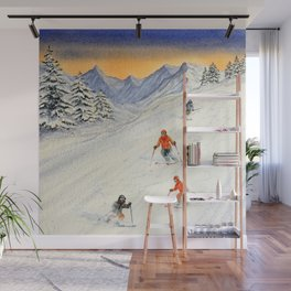 Skiing Family On The Slopes Wall Mural