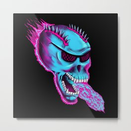 Sonic Skull - Blue Mayhem Metal Print