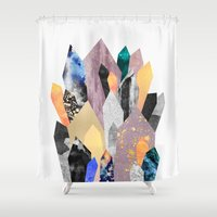 minerals Shower Curtains featuring Crystals by Elisabeth Fredriksson