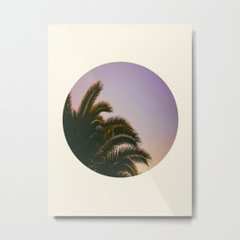 Sunset Purple Palm Tree Circle Photo Metal Print