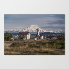 Point Wilson Lighthouse and Mount Baker Canvas Print