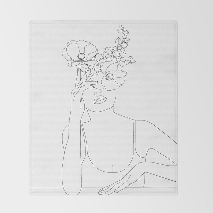 Minimal Line Art Woman with Flowers II Throw Blanket