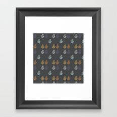 Charcoal and Leaf Repeat Framed Art Print