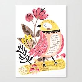Little Birdy on a Log Canvas Print