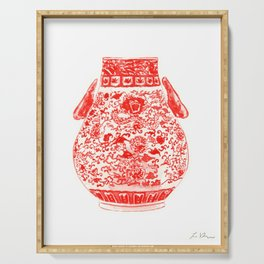 Coral Red Ginger Jar 2 Serving Tray