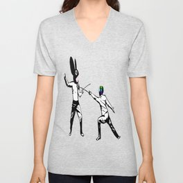 music battle fencing Unisex V-Neck
