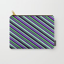 Powder Blue, Forest Green, Purple & Black Colored Stripes/Lines Pattern Carry-All Pouch
