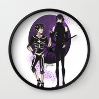 yaoi Wall Clocks featuring Skelender by Jackce