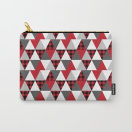Quilt pattern buffalo check pattern red black and white with grey minimal camping Carry-All Pouch