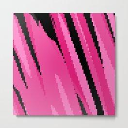 Pink and Black Pixelation Metal Print