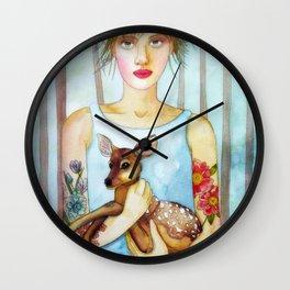 Girl with fawn Wall Clock