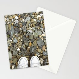 Brown pebbles and silver shoes Stationery Cards
