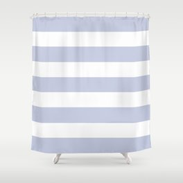 Light periwinkle - solid color - white stripes pattern Shower Curtain