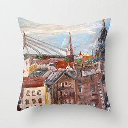 Dome Cathedral from City Hall in Riga, Latvia Throw Pillow