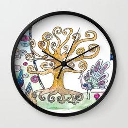 Klimt inspired Golden Tree of Life in Eternal Spring Wall Clock