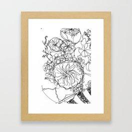 Peony - Black and White Framed Art Print
