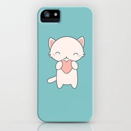 Kawaii Cute Cat With Hearts iPhone Case