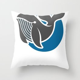 Awesome Minimalist Whale Design for Ocean and Sea Lovers Throw Pillow