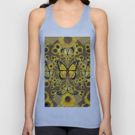 BLACK-GOLD MONARCHS SUNFLOWER ART Unisex Tank Top