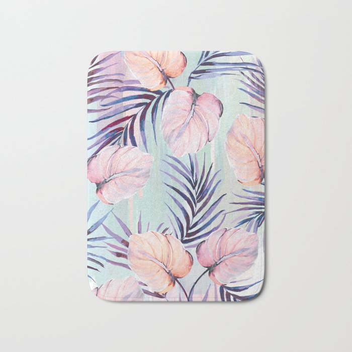 Pastel powder palms Bath Mat
