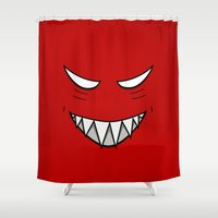 resident evil Shower Curtains featuring Evil Grin Evil Eyes by Boriana Giormova