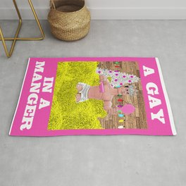 A Gay In A Manger! Hilarious Queer Christmas Design! Rug