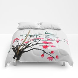 bamboo and red plum flowers Comforters