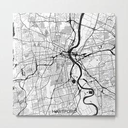 Hartford Map Gray Metal Print