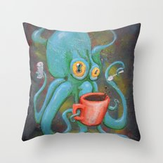 Michelle's Coffee Drinking Octopus Throw Pillow