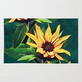 Watercolor sunflowers Rug