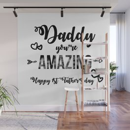 Cool First Fathers Day Best Dad AF Saying Son Gif Wall Mural
