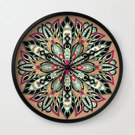 Tribal Geometric brown and green Mandala Wall Clock