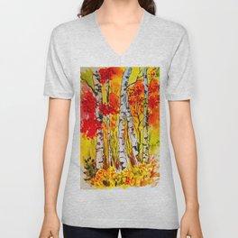 Autumn watercolour birch trees Unisex V-Neck