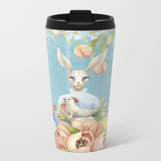 Beautiful Floral Flowers Female Animal Easter Bunny  on #Society6 Metal Travel Mug