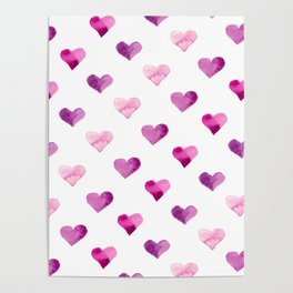 Pink Love Hearts Poster