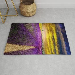 Lavender Fields Under a Golden Sunset Twilight landscape painting Rug