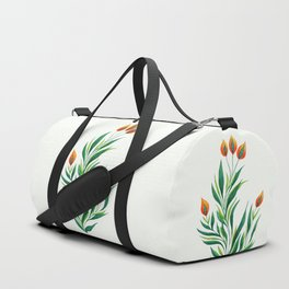 Abstract Green Plant With Orange Buds Duffle Bag