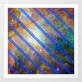Blue Striped Space Nebula Art Print