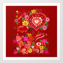 Love Hearts Flowers - Valentine's Day Gifts Art Print