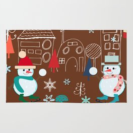 winter fun brown Rug