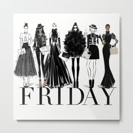 Sex & The City on Friday With My Girls Fashion Illustration Metal Print
