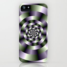 Concentric Circles in Green and Purple iPhone Case