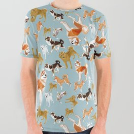 Japanese Dog Breeds All Over Graphic Tee