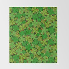 Lucky Clovers Throw Blanket