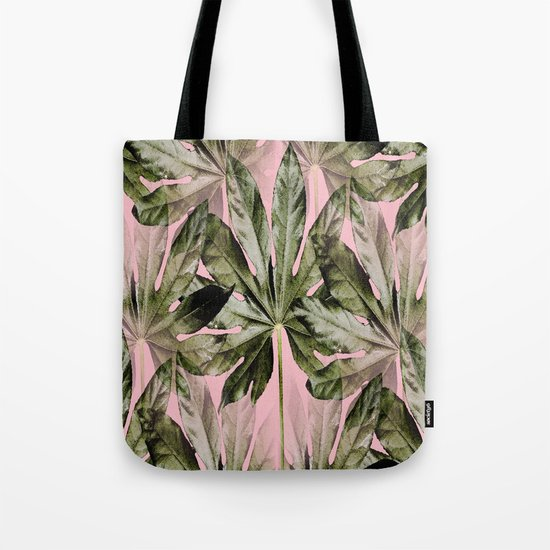 Large green leaves on a pink background - beautiful colors Tote Bag