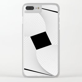 Squares 2 Black and White Clear iPhone Case