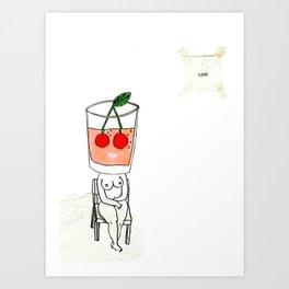 thirsty cherry juice  Art Print