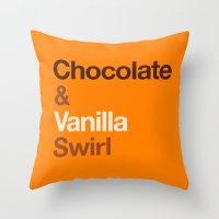 oitnb Throw Pillows featuring Chocolate & Vanilla Swirl OITNB by Maria Giorgi
