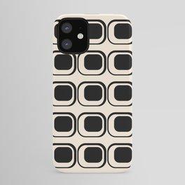 Mod 3 Retro Minimalist Pattern in Black and Almond Cream iPhone Case