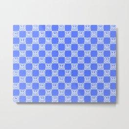 Blue Tiles with Smiles Metal Print
